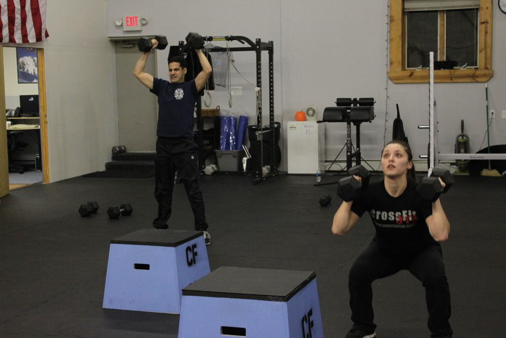 Vincent and Jenn show how fun Dumbbell Thrusters can be