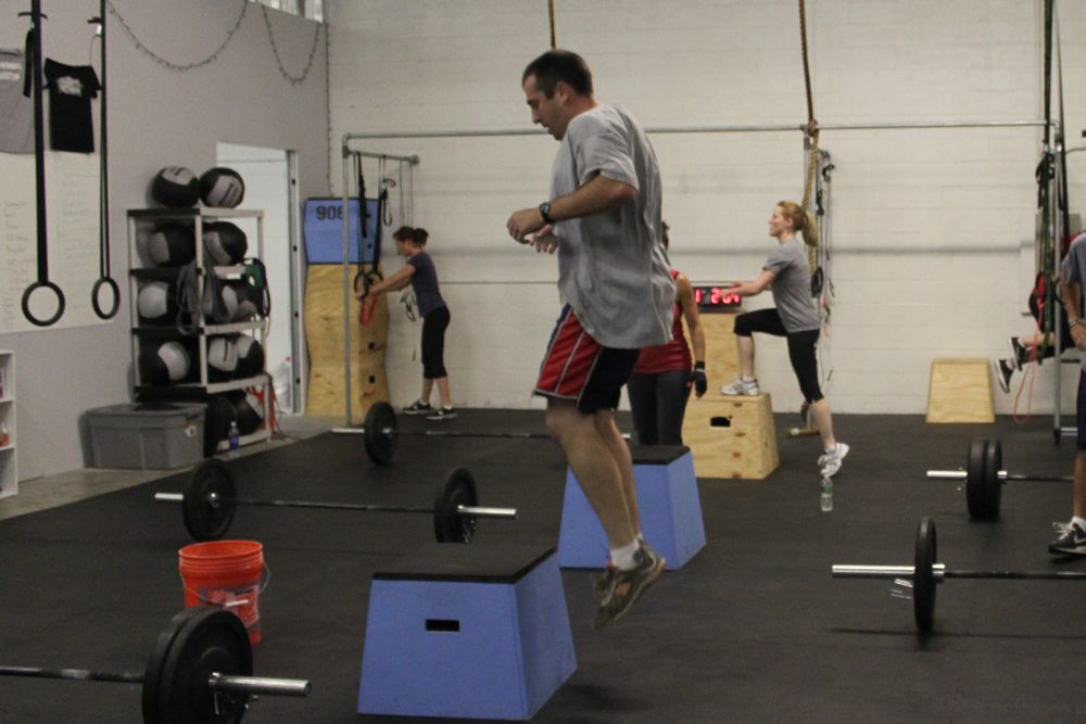 Ian makes his way through 21 box jumps without a problem