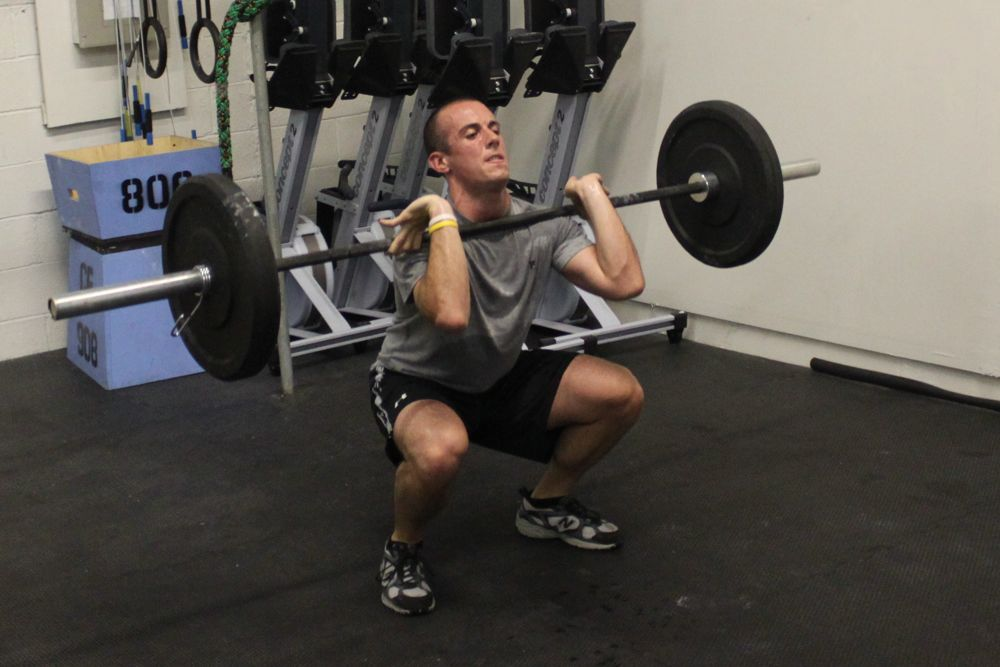 Ant showing good form on his front squat