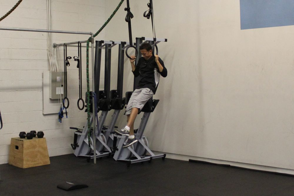 Rich's knee is injured but he's still able to do 1-legged jumping pull ups! Great effort Rich!