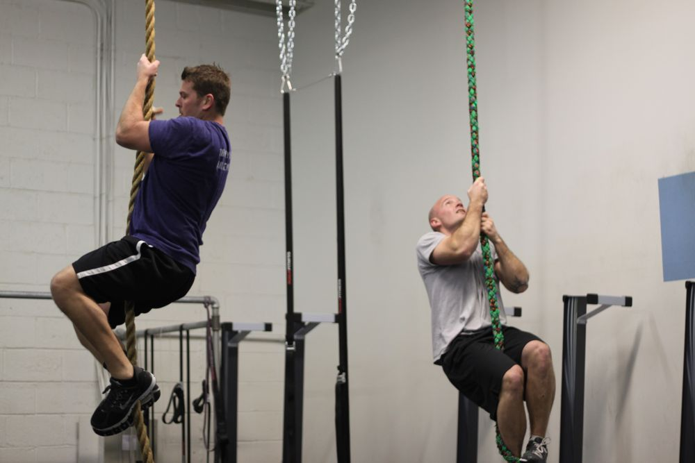 PJ and Stan climbing some ropes!